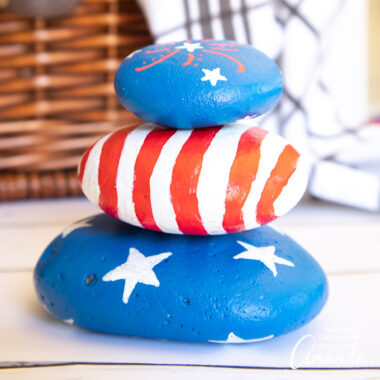 4th of july painted stacking rocks