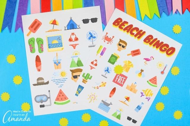 beach bingo printable on blue background