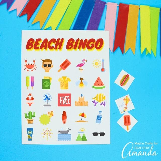 beach bingo printable with rainbow banner