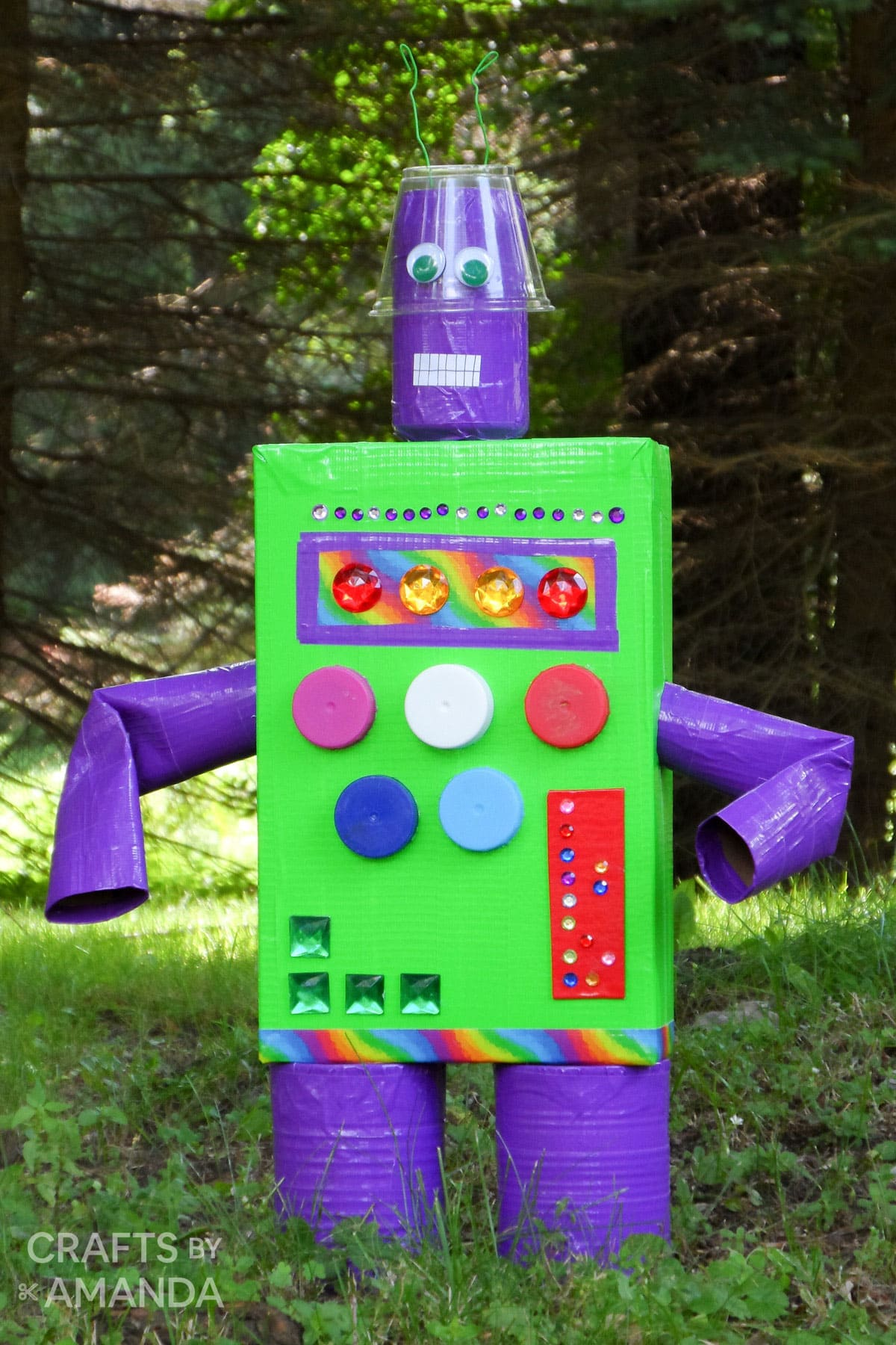 cereal box duck tape robot in yard