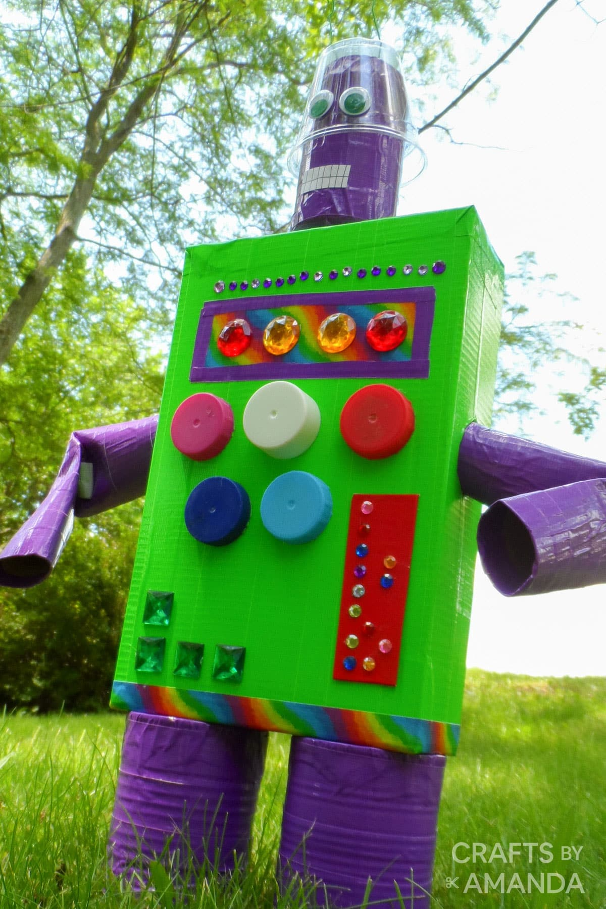 recycled box robot in yard