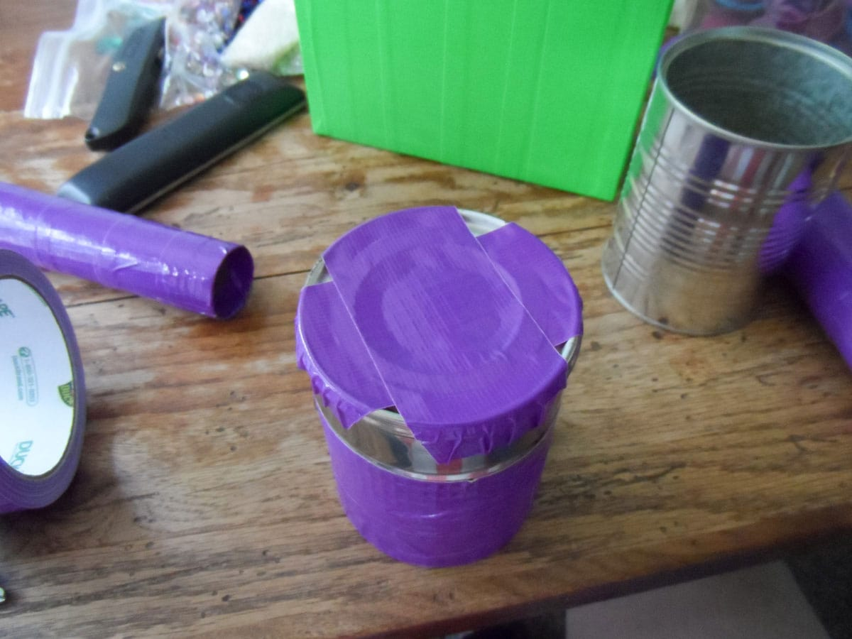 vegetable can covered with duck tape