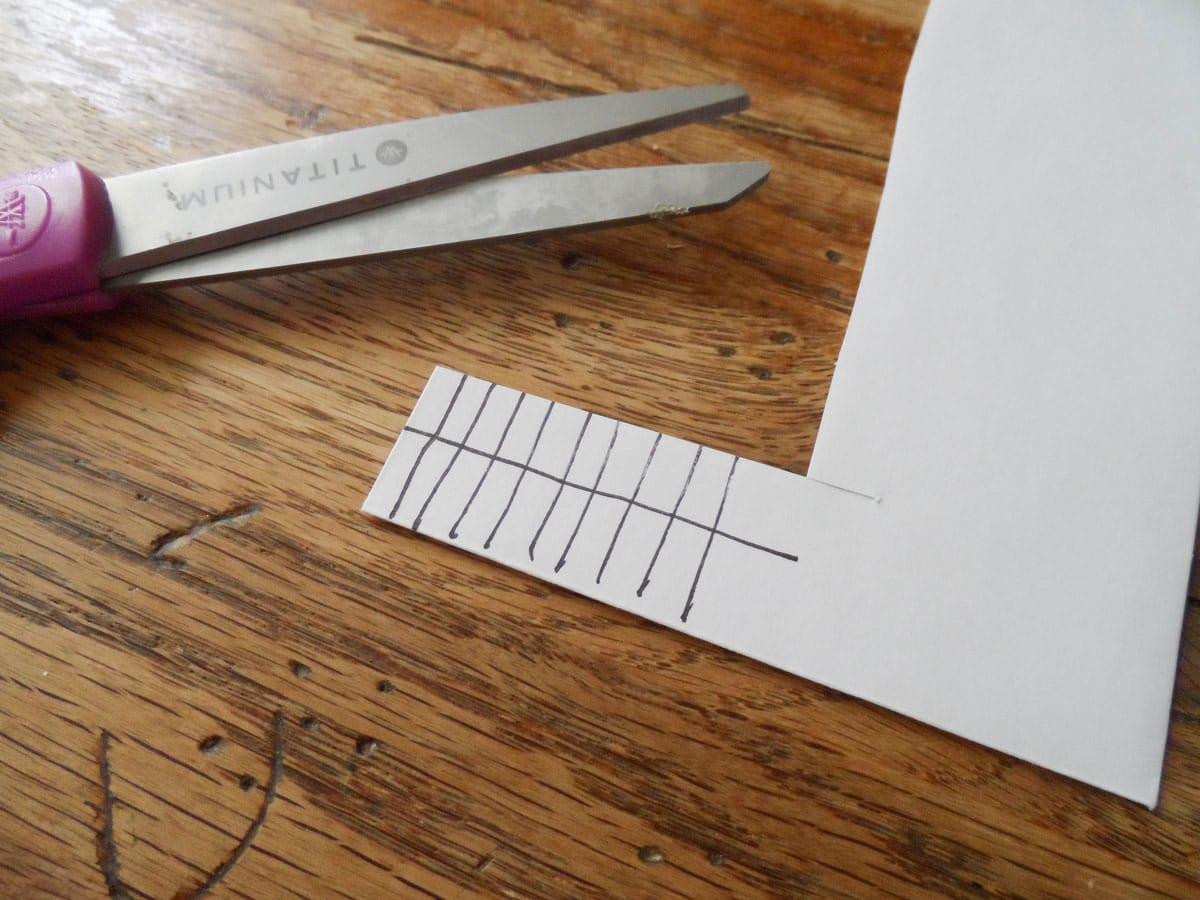 piece of paper with lines drawn on it