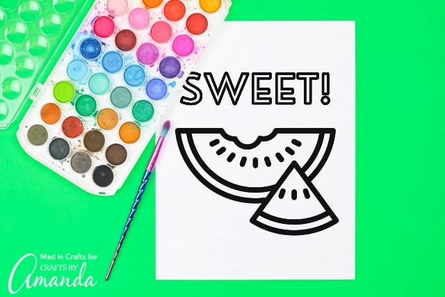 Watermelon coloring page with paint pallette