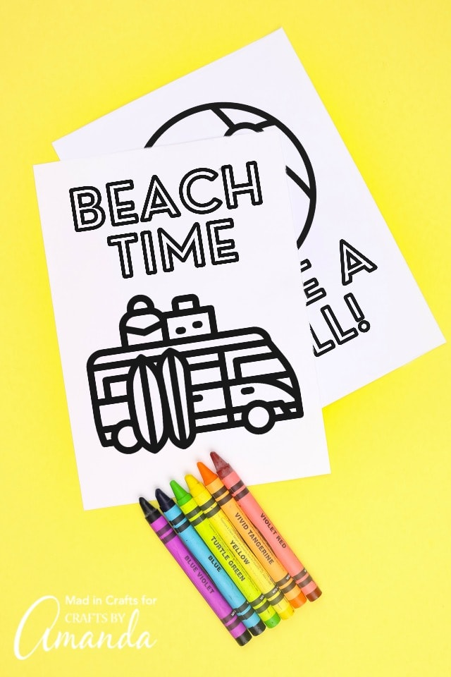 beach coloring pages for kids on yellow background