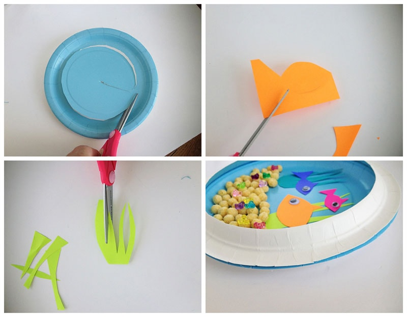 step photos showing process of making paper plate aquarium