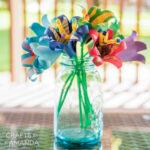 vase of tropical paper flowers