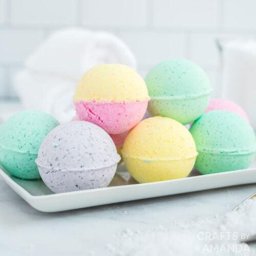 white tray of bath bombs