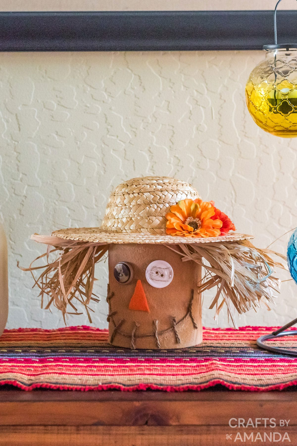 Coffee Can Scarecrow on a mantel