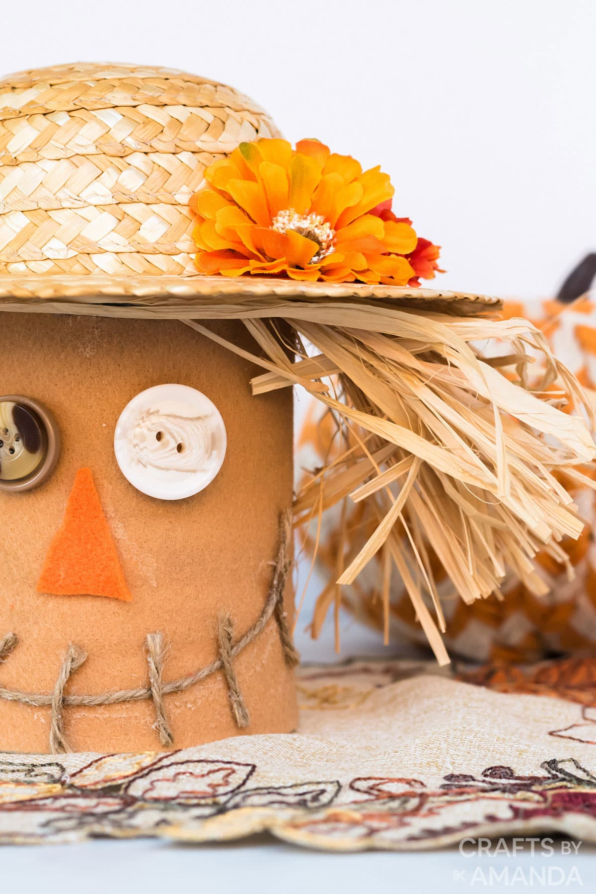 close up of coffee can scarecrow craft