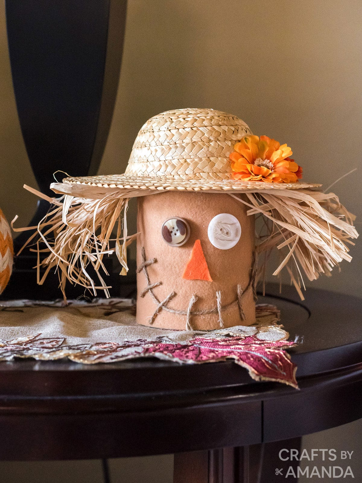 Coffee Can Scarecrow on a living room side table