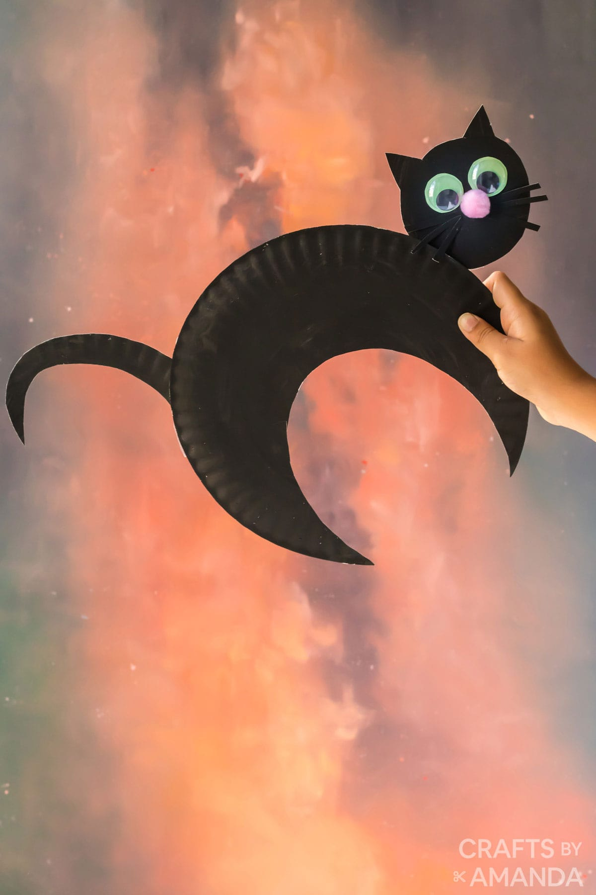 hand holding paper plate black cat