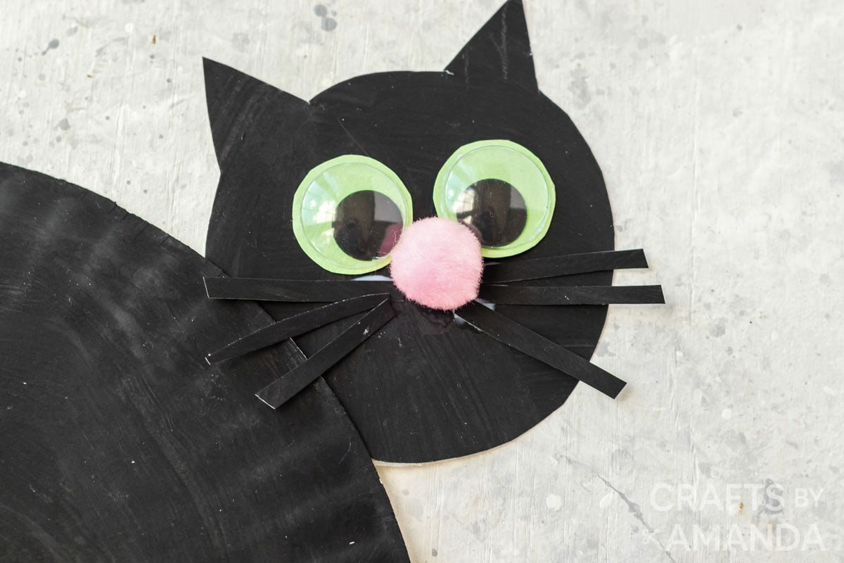 close up of paper plate black cat's face