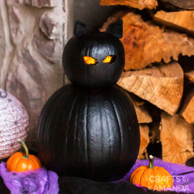 black cat pumpkin with glowing eyes