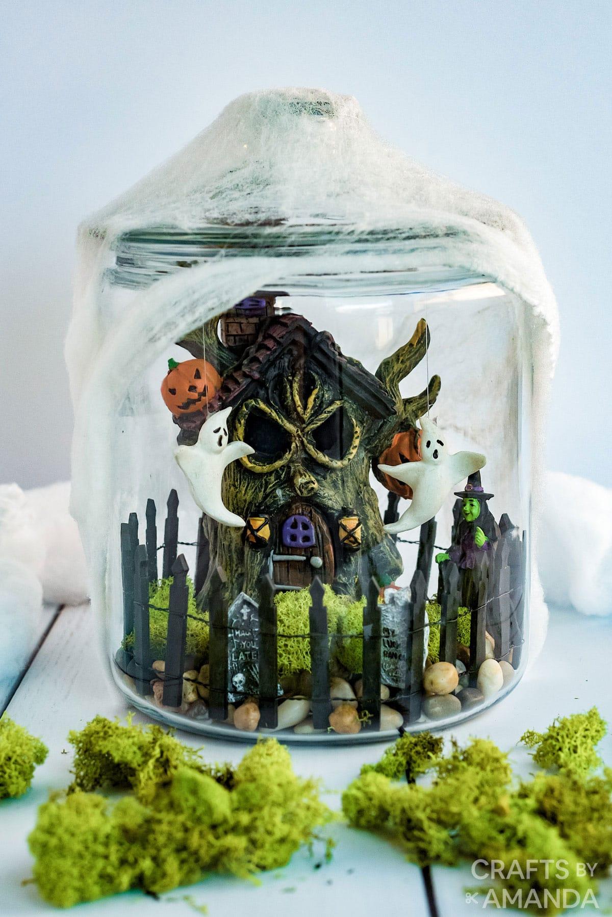 halloween terrarium in a glass canister