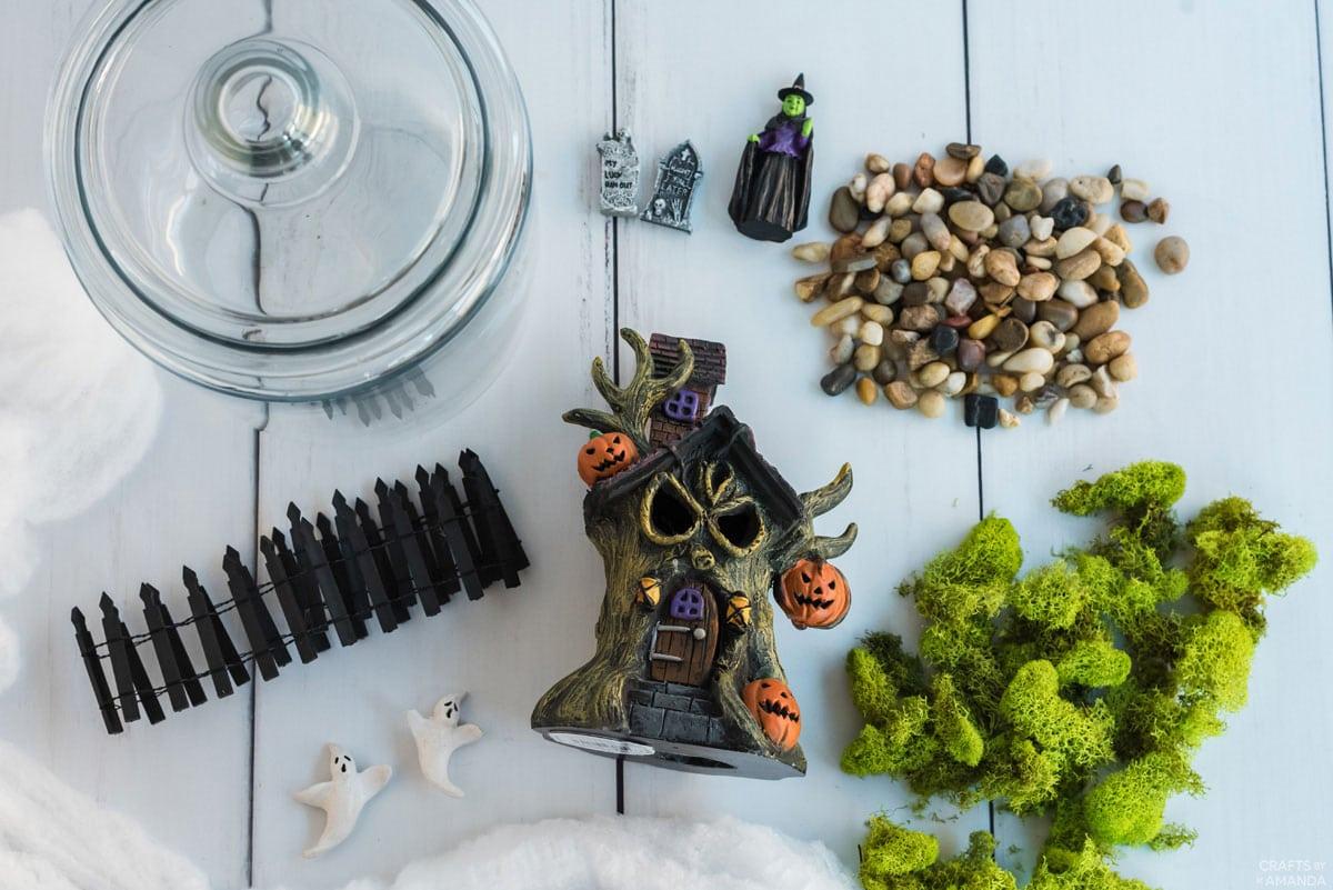labeled supplies for halloween terrarium