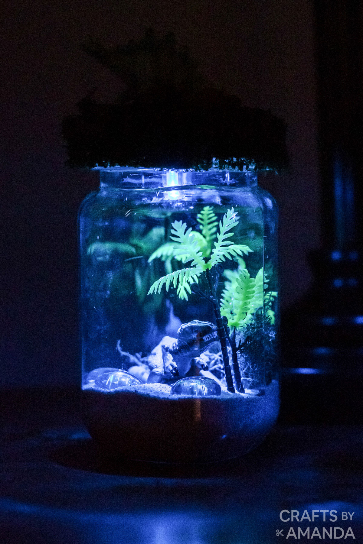 dinosaur jar terrarium night light lit up
