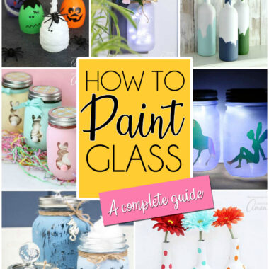 collage of glass painted projects