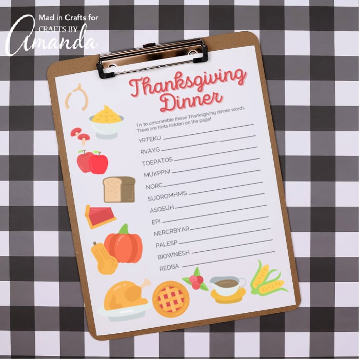 thanksgiving word scramble on clipboard