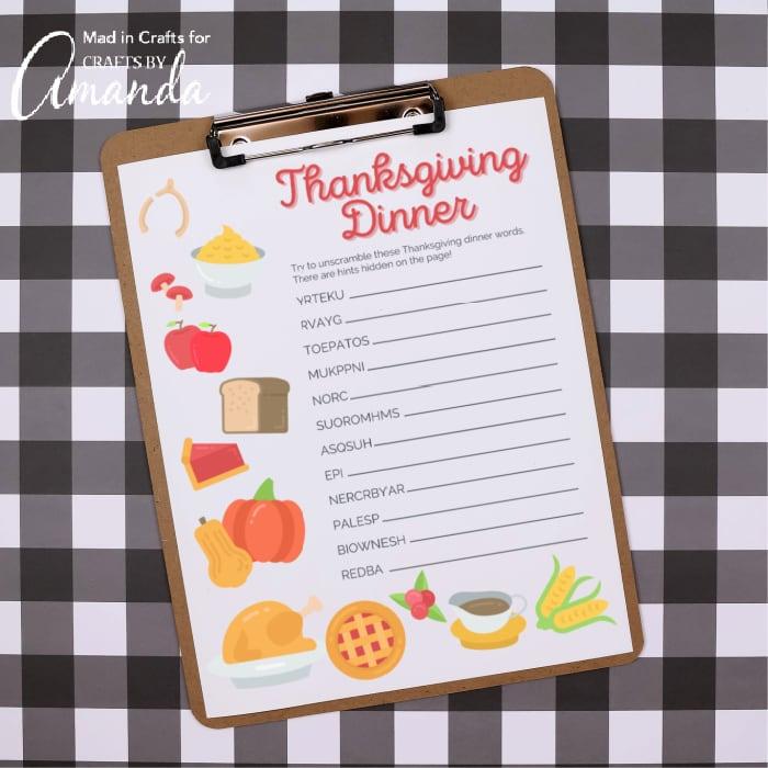 thanksgiving word scramble on clipboard