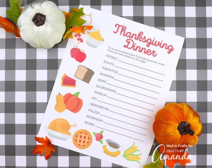 thanksgiving word scramble on bufflao check background