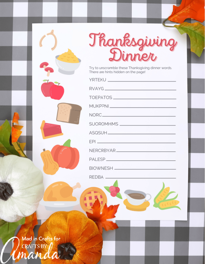 Thanksgiving word scramble printed out on grey checkered background