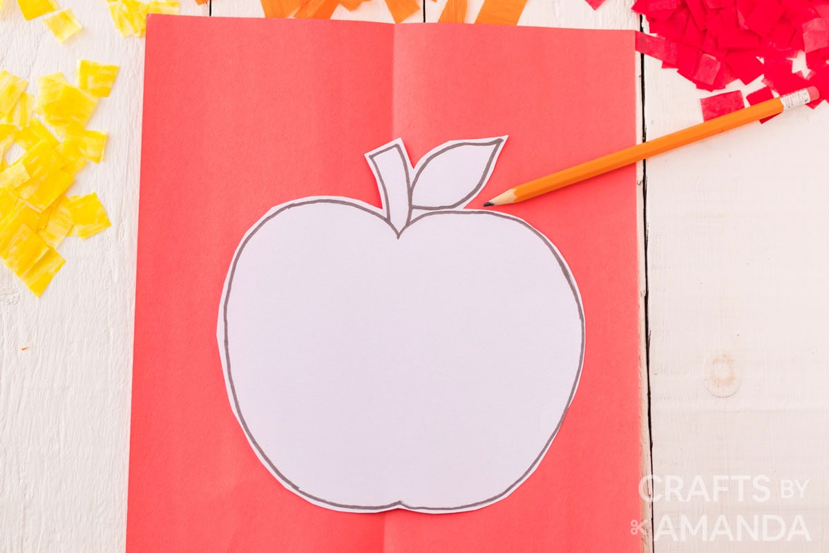 apple template on red paper