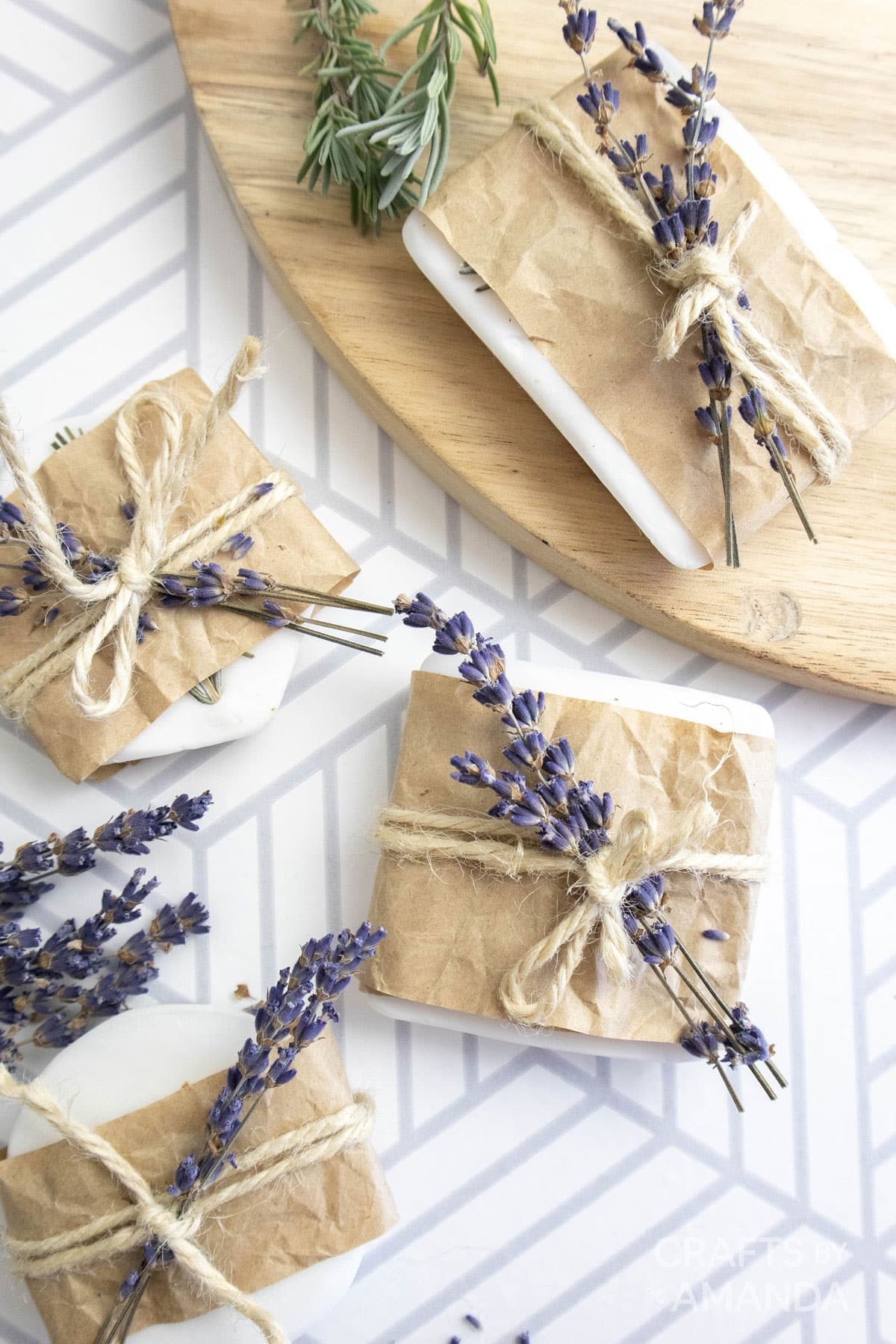 lavender soap wrapped in brown paper