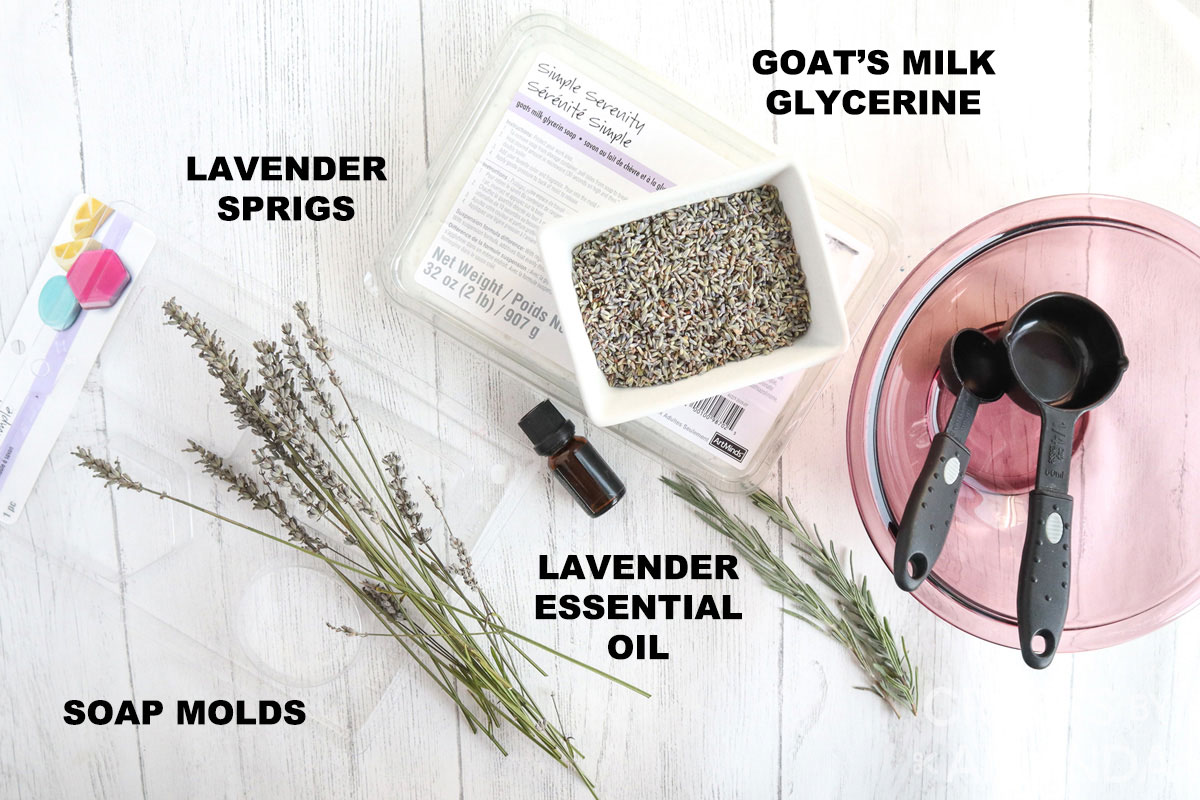 labeled supplies for making homemade lavender soap