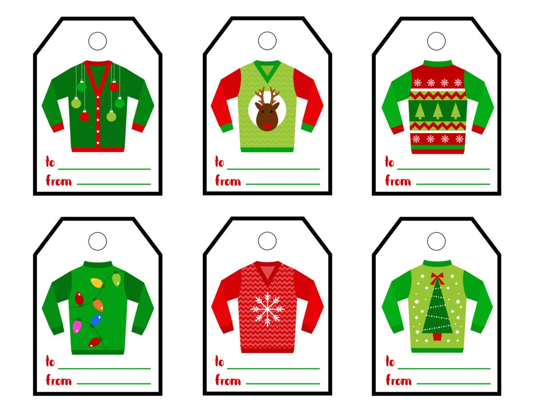 ugly sweater printable gift tags