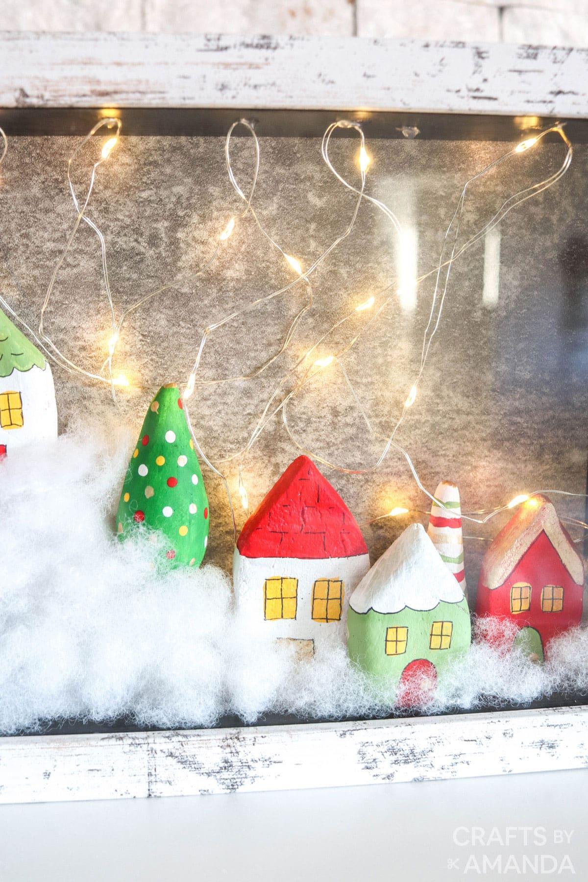 close up of christmas village shadowbox