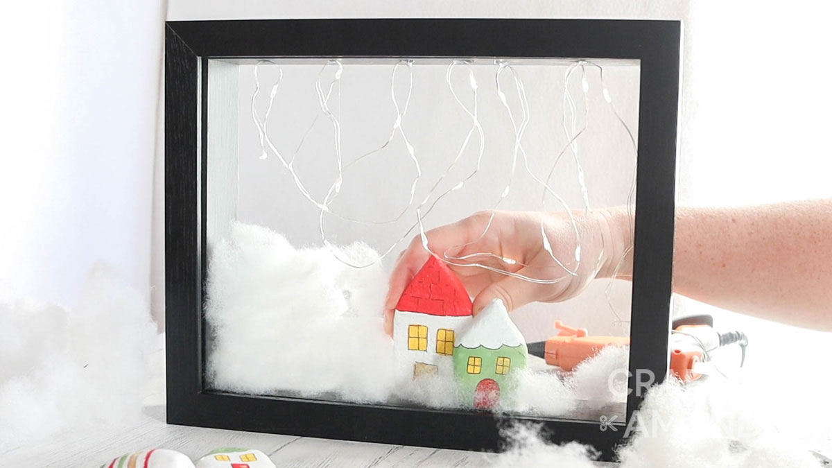 adding clay houses to shadowbox