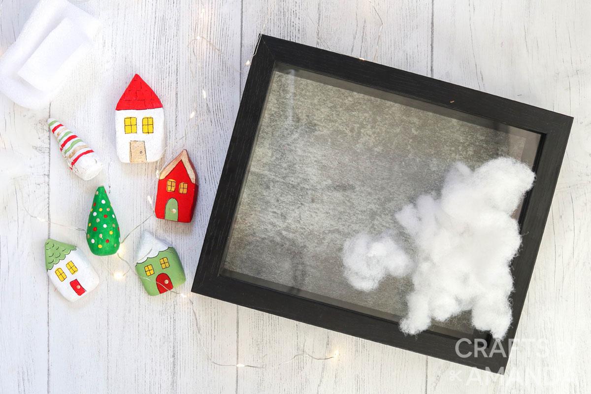 supplies for christmas village shadowbox