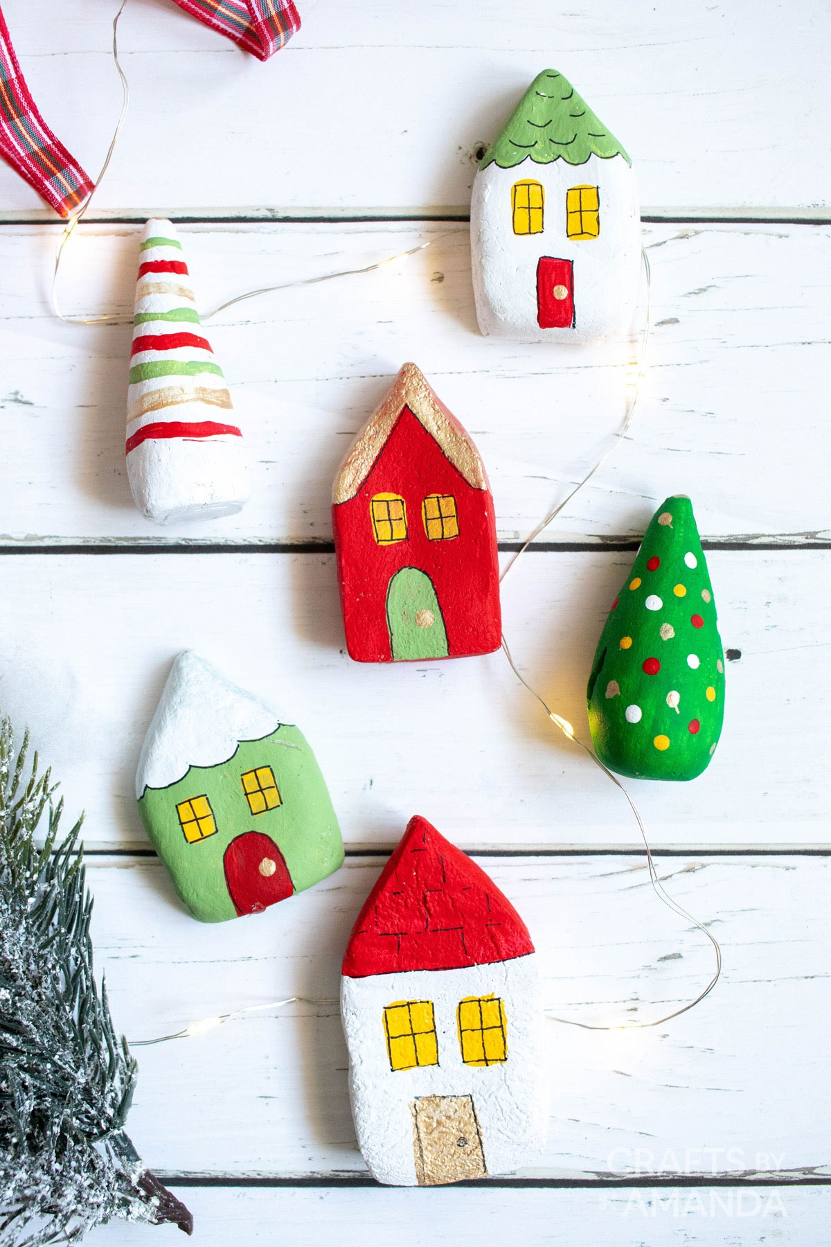painted salt dough houses and trees