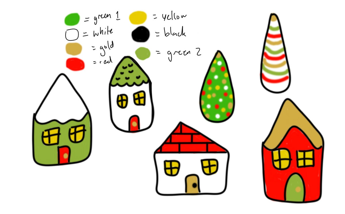 drawing of mini clay houses