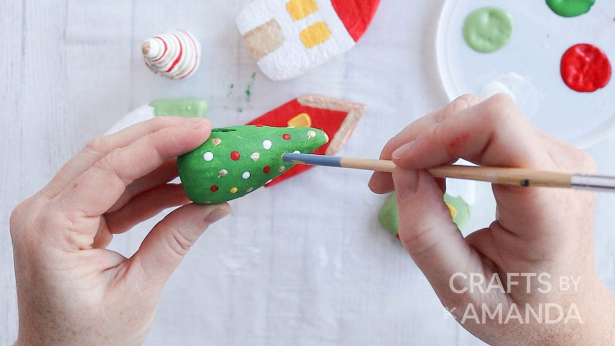 adding polka dot to salt dough tree