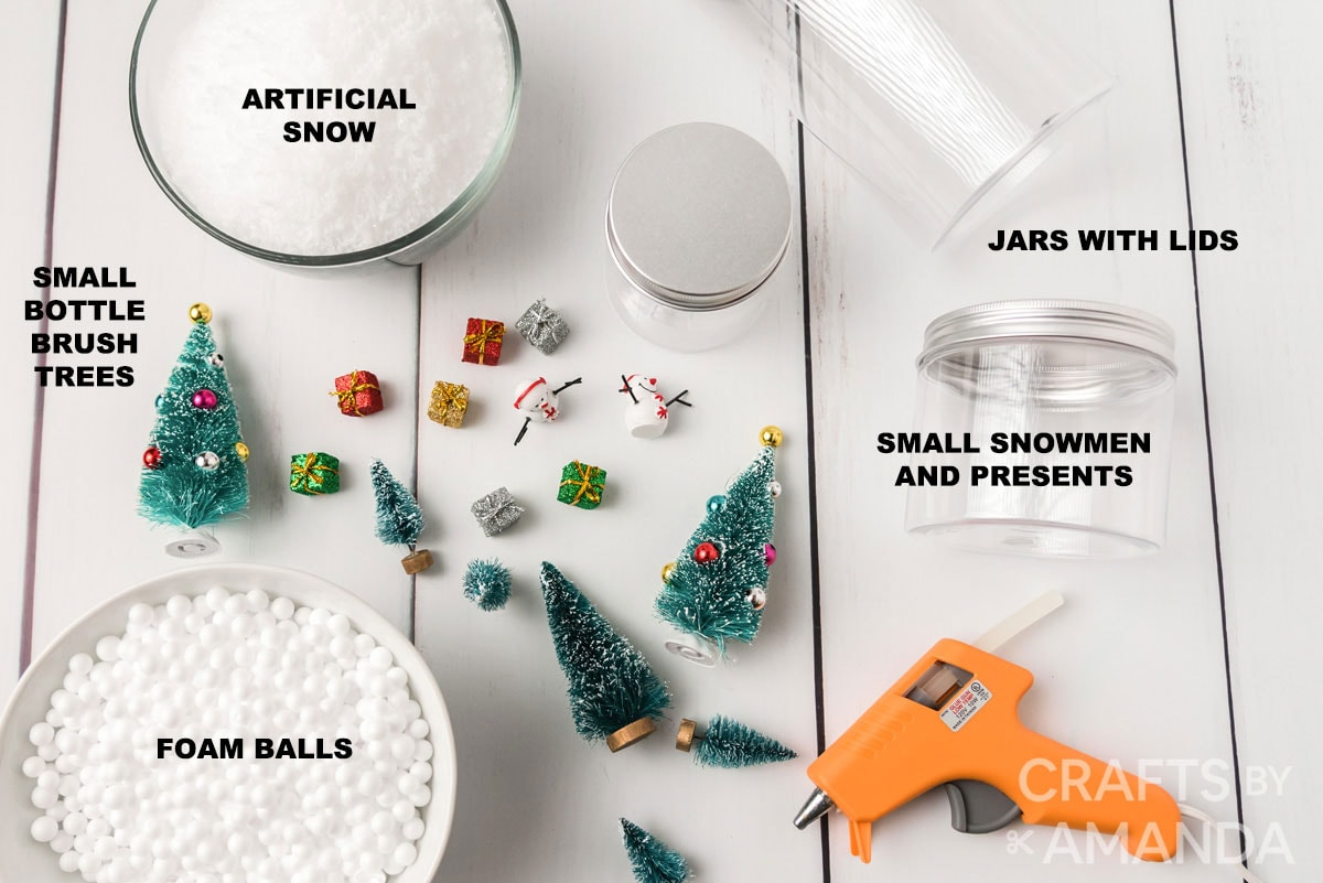 labeled supplies for waterless snow globes