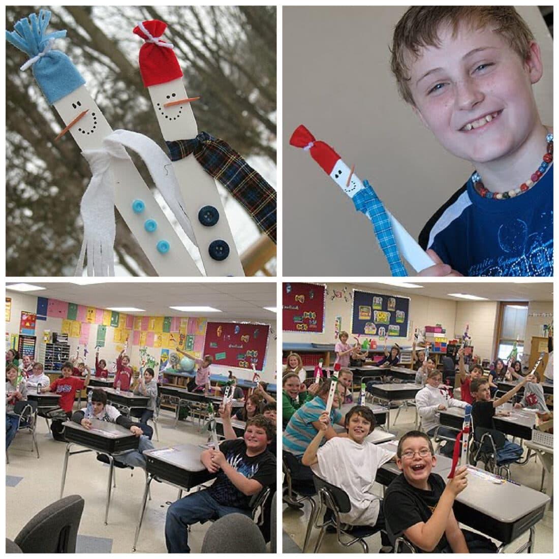 collage of kids making paint stick snowmen