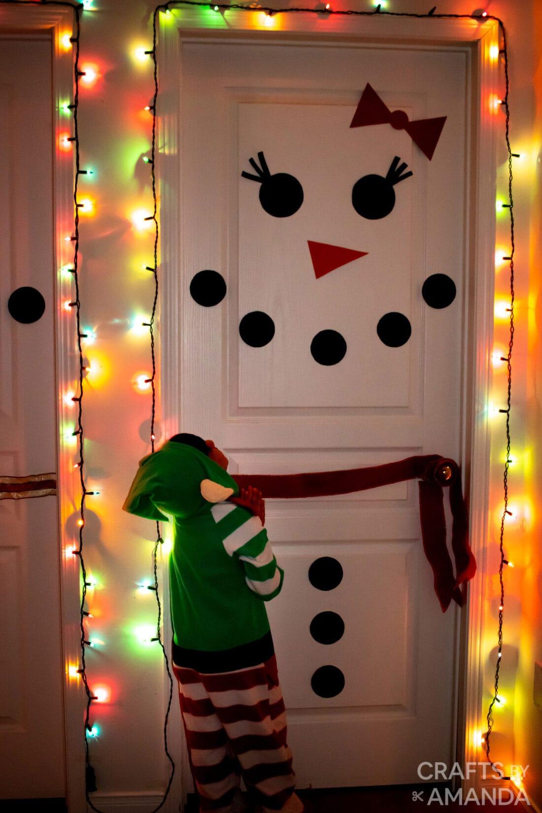 snow woman door