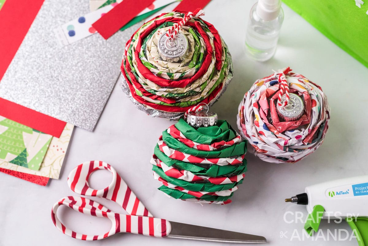 3 twisted paper ornaments with supplies
