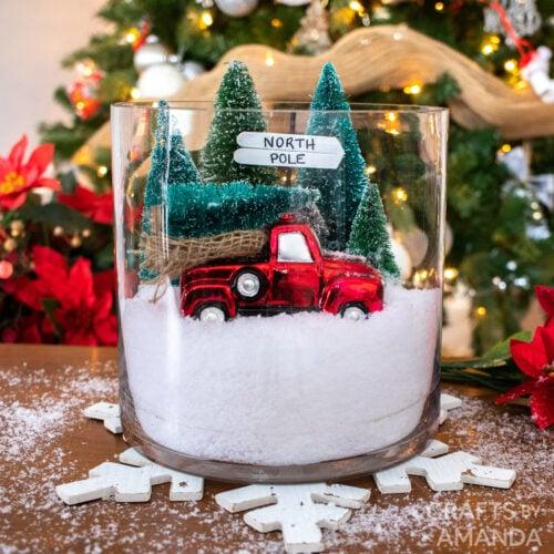 christmas terrarium - red truck and bottle brush trees