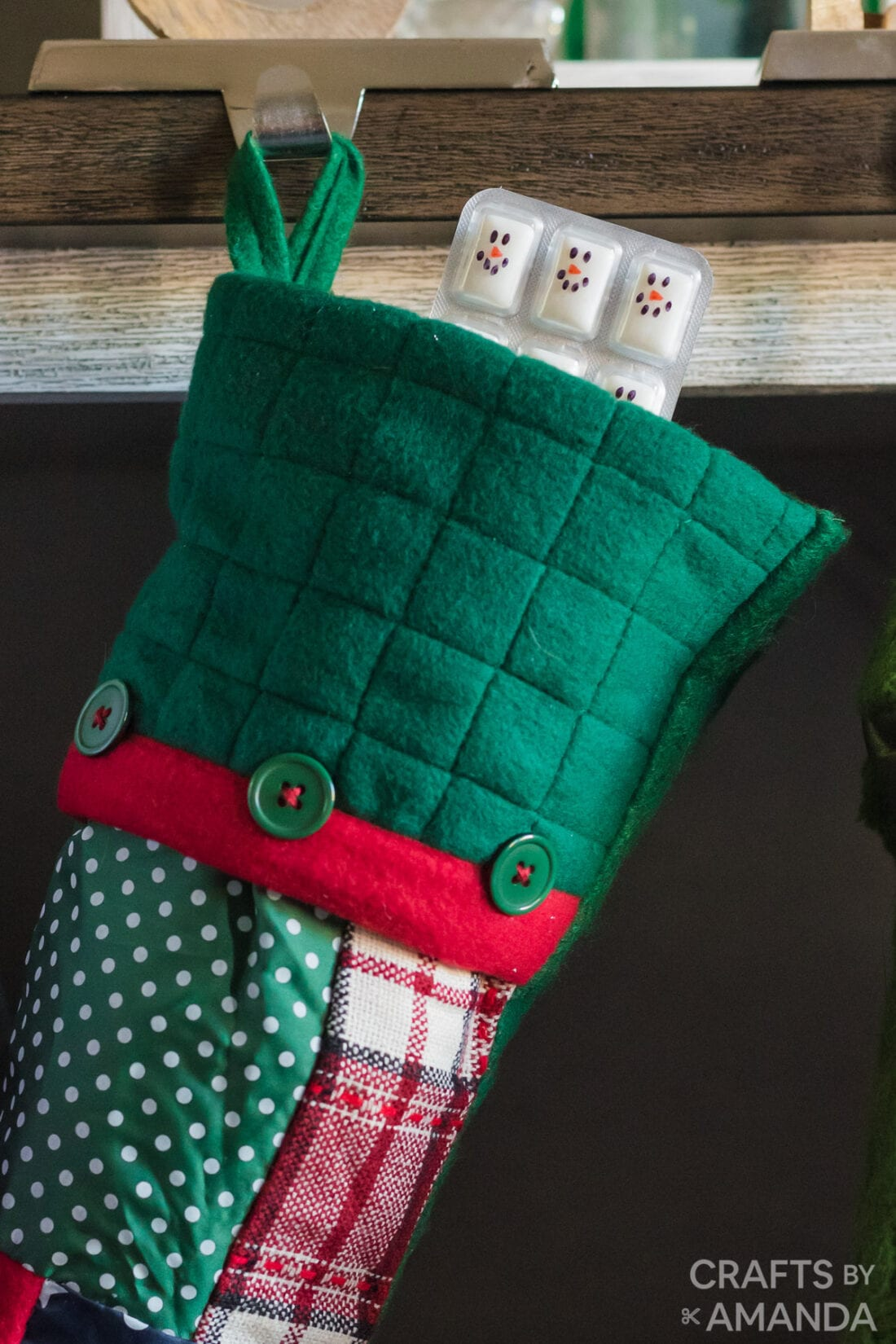 snowman gum sticking out of stocking