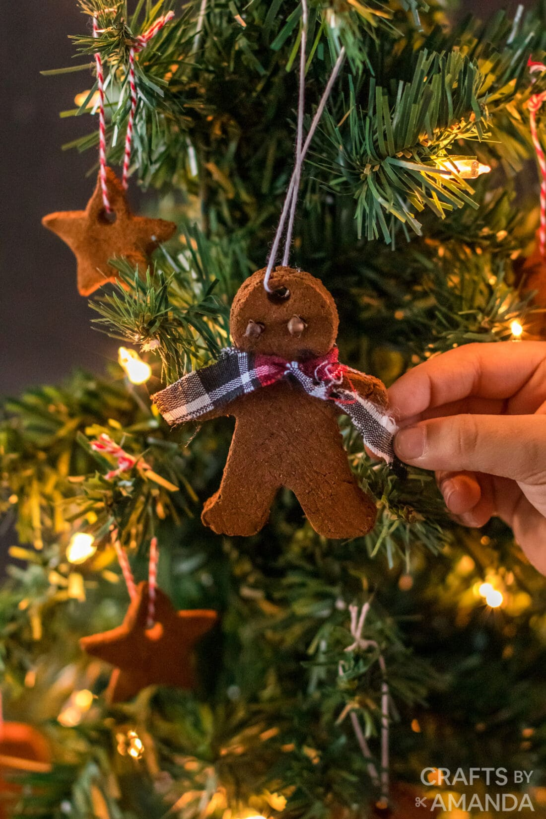 boy putting cinnamon ornament on tree