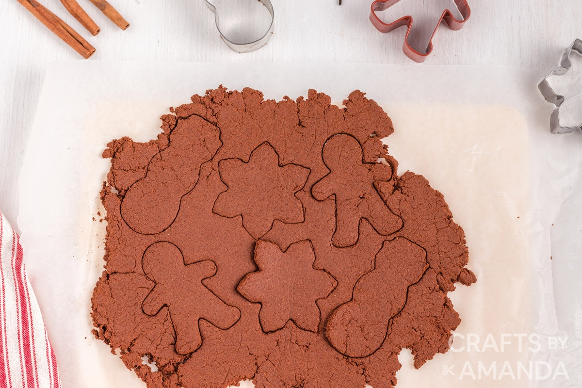 cinnamon dough with cut out shapes