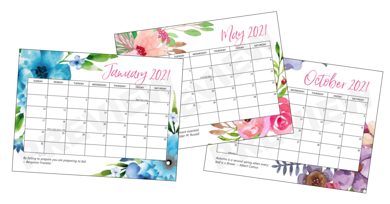 Free Printable 2021 Calendar - Crafts by Amanda - Free ...