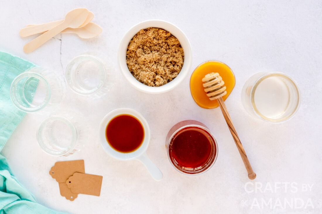 craft supplies for how to make lip scrub