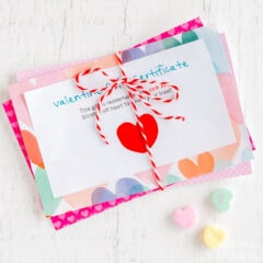 valentine gift certificates tied with bakers twine