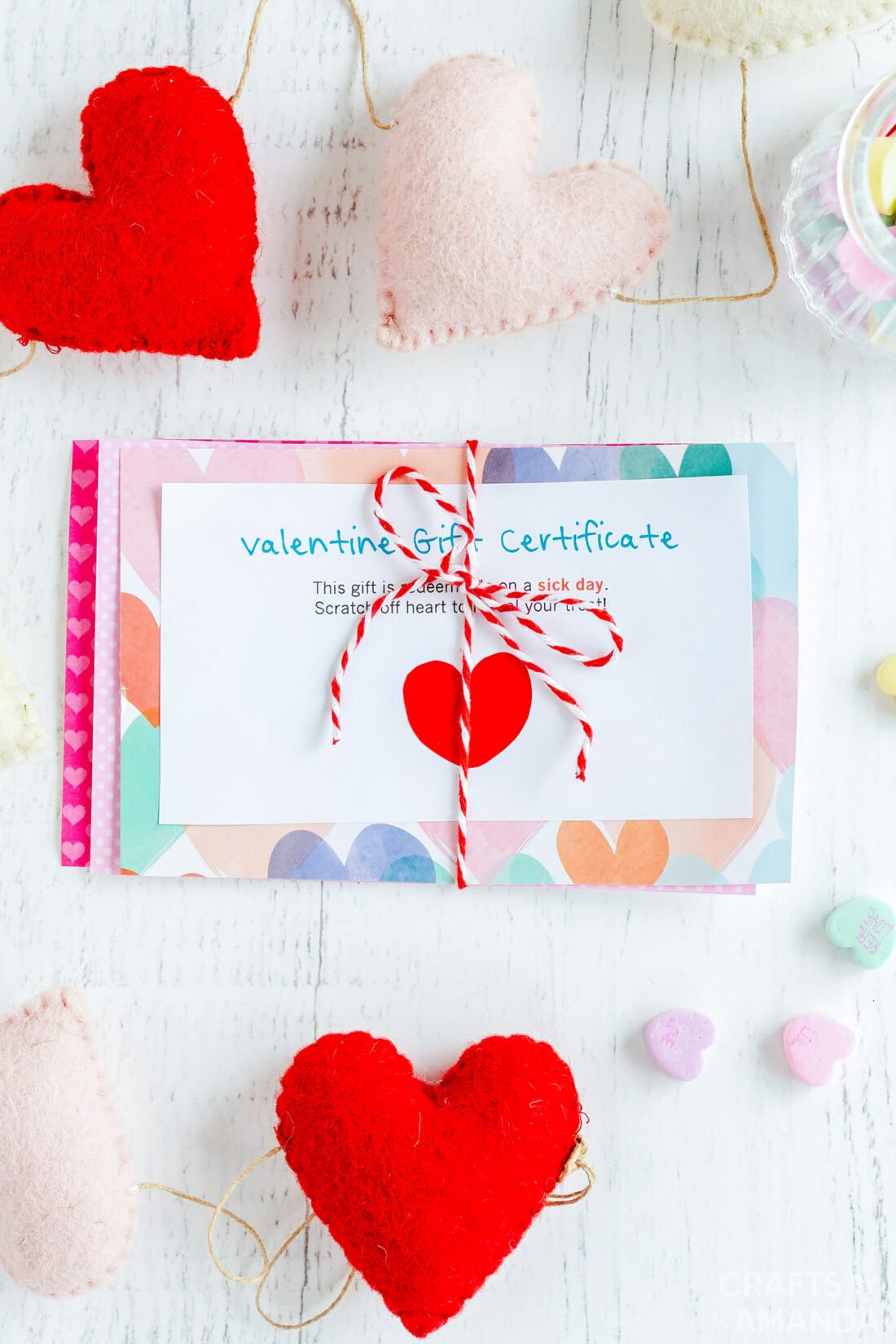 stack of valentine gift certificates tied with string