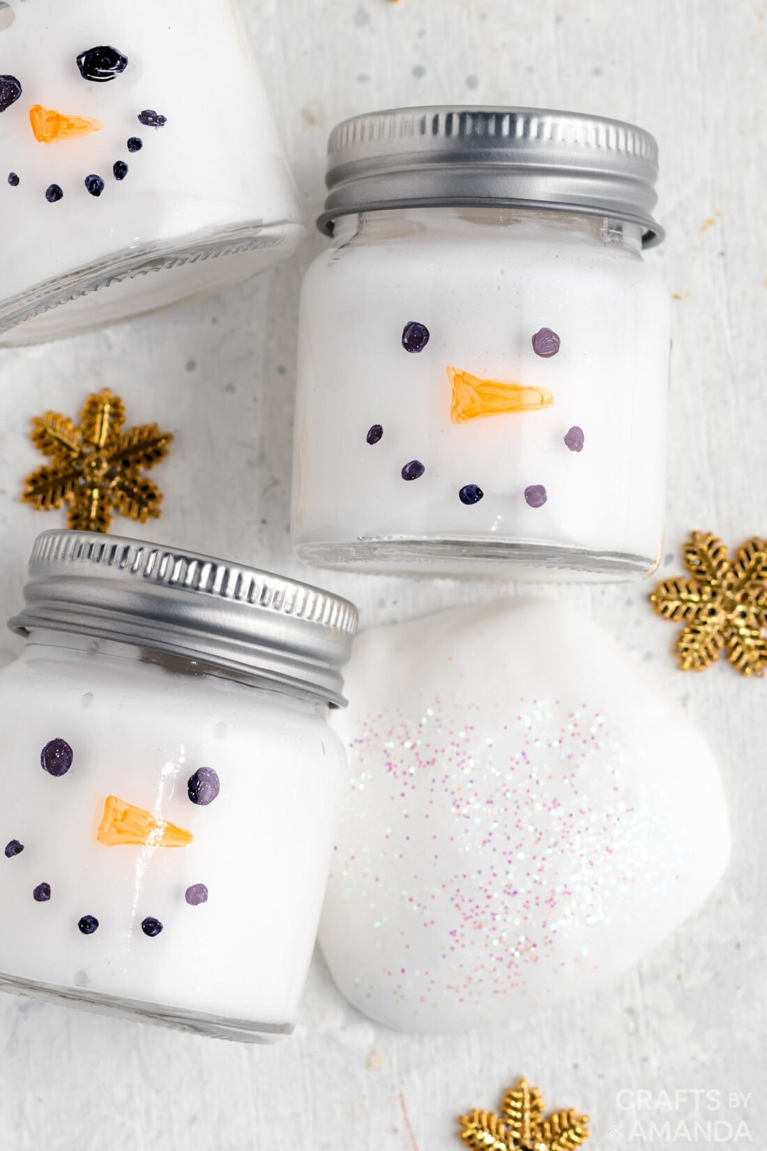 snowman slime in jars