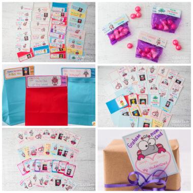 collage of free valentine printables